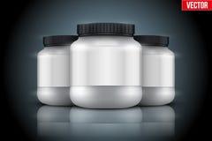 Fond de maquette de récipient de nutrition de sport Protéine de lactalbumine et gagnant Photo stock