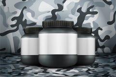 Fond de maquette de récipient de nutrition de sport Protéine de lactalbumine et gagnant illustration de vecteur