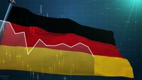Fond de marché boursier de drapeau de l'Allemagne, finance commerciale DAX, euro devise d'échange illustration libre de droits