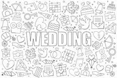 Fond de mariage de ligne icône modèle linéaire de vecteur photo stock