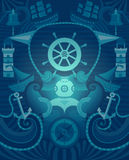 Fond de marine de vecteur illustration stock