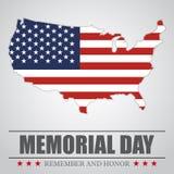 Fond de Memorial Day avec la carte des Etats-Unis Illustration de vecteur illustration libre de droits