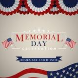 Fond de Memorial Day avec le drapeau national des USA, bannière étoilée Calibre pour l'invitation de Memorial Day, carte de voeux illustration stock