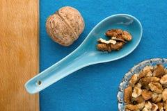 Fond de menu Cuisinier Book Carnet de recette avec des noix sur un fond bleu Photo libre de droits