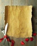Fond de menu de valentines Photographie stock libre de droits
