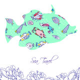 Fond de mer avec les poissons bleus Photographie stock libre de droits