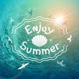 Fond de mer d'été Belle inscription blanche sur le fond des vagues et des mouettes faisantes rage illustration stock
