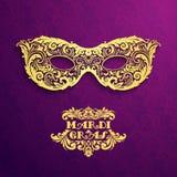 Fond de modèle avec le masque d'or fleuri Mardi Gras illustration libre de droits