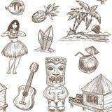 Fond de modèle de croquis de voyage d'Hawaï Conception exotique tropicale sans couture de vecteur des symboles hawaïens illustration stock