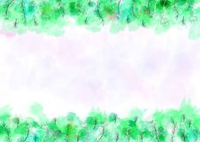 Fond de mod?le d'aquarelle avec la fronti?re verte et florale illustration de vecteur