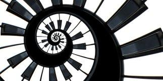 Fond de modèle de spirale de fractale d'abrégé sur clavier de piano Le piano noir et blanc verrouille autour de la spirale Escali images stock