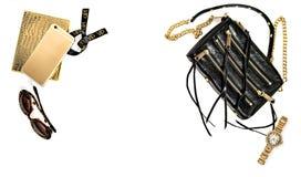 Fond de mode avec des accessoires de dame d'affaires Obje féminin Photographie stock