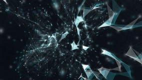 Fond de mouvement de structure abstraite de plexus avec des triangles, des lignes et des points banque de vidéos