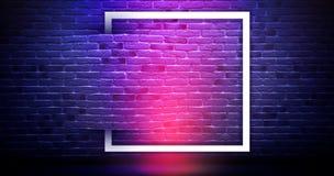 Fond de mur de briques, lampe au néon illustration stock