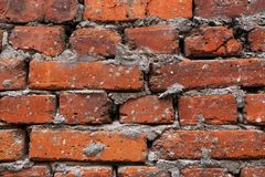 Fond de mur de briques sale de vieux vintage avec le pl?tre d'?pluchage, texture photos stock