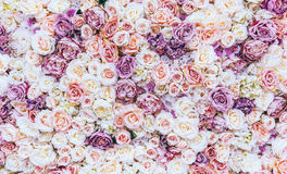 Fond de mur de fleurs avec stupéfier les roses rouges et blanches, épousant la décoration, fabriquée à la main images libres de droits