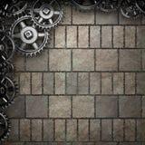 Fond de mur en pierre avec des vitesses en métal illustration stock