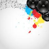 Fond de musique avec des haut-parleurs et des taches - vecteur Photos stock
