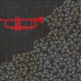 Fond de musique avec la trompette et les papillons illustration libre de droits