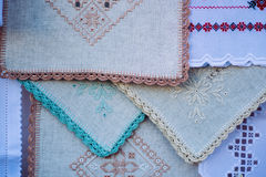 Fond de nappes et de châles de décoration de tissu brodé photos libres de droits