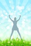Fond de nature avec la silhouette de fille dans le saut Photo stock