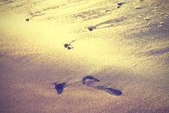 Fond de nature de vintage, empreinte de pas sur le sable images libres de droits