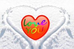 fond de neige de coeur Photographie stock