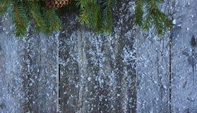 Fond de Noël Arbre de Noël, cônes de pin et neige au-dessus de W Photo libre de droits
