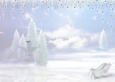 Fond de Noël arbre de Noël neigeux, bonhomme de neige, traîneau, clo Image libre de droits