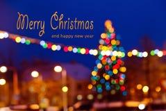 Fond de Noël avec écrire le Joyeux Noël et nouveau heureux images libres de droits