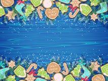 Fond de Noël avec des biscuits de pain d'épice illustration stock