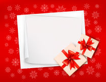 Fond de Noël avec des boîtes-cadeau Photos libres de droits