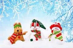 Fond de Noël avec des bonhommes de neige Image stock
