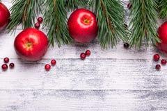 Fond de Noël avec des branches d'arbre, des pommes rouges et des canneberges Table en bois légère photos stock