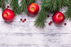 Fond de Noël avec des branches d'arbre, des pommes rouges et des canneberges Table en bois légère photographie stock