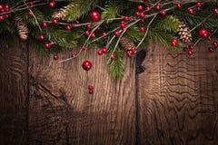 Fond de Noël avec des branches de sapin Images libres de droits