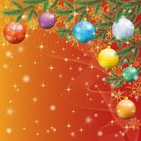 Fond de Noël avec des branches et des boules Photographie stock libre de droits