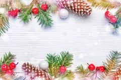Fond de Noël avec des branches de sapin Photo stock