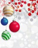Fond de Noël avec des branches de sapin blanc et des baies de houx et babiole colorée Vecteur Image stock