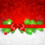 Fond de Noël avec des brindilles et Noël de sapin Photo stock