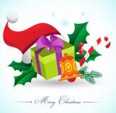 Fond de Noël avec des cadeaux et des éléments Photographie stock