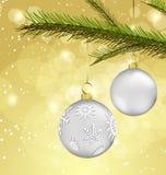 Fond de Noël avec des décorations de bille Images libres de droits