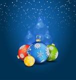 Fond de Noël avec des décorations de bille Photo stock