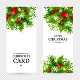 Fond de Noël avec des décorations de sapin et de houx Photographie stock