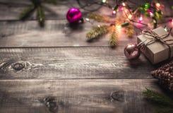 Fond de Noël avec des lumières Photos stock