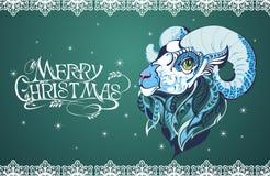 Fond de Noël avec des moutons Photographie stock libre de droits