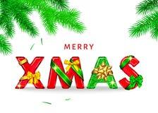Fond de Noël avec l'arc décoratif de cadeau, ruban, sapin illustration stock