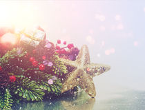 Fond de Noël avec l'effet de vintage Images stock
