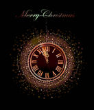 Fond de Noël avec l'horloge Photo libre de droits