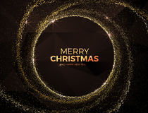 Fond de Noël avec l'illustration magique de vecteur de la poussière d'étoile d'or Photos stock